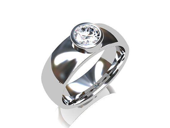 0.50ct certificated Diamond ring, white gold, bezel ring, diamond wedding band…