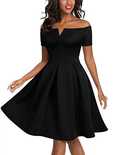 22b468a20c3 Sarahbridal Women s Off Shoulder Short Sleeve Vintage Cocktail Party Swing  Dress
