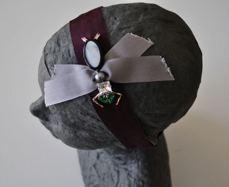 FLY headband Mixed elements on grosgrain ribbon handmade