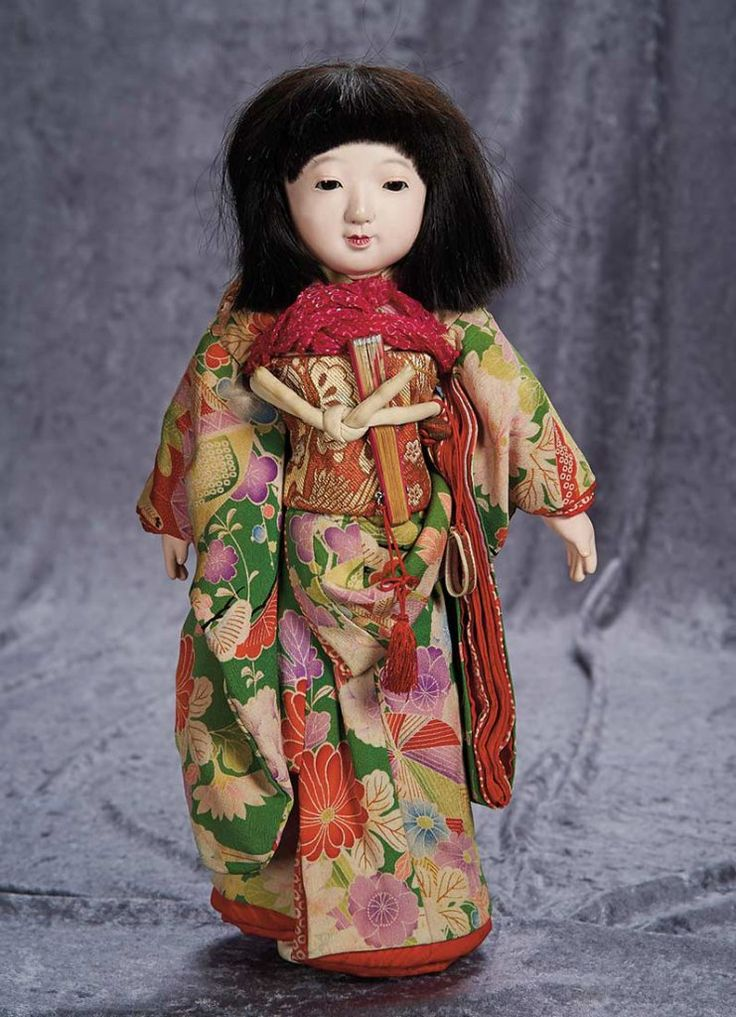 "18"" (46 cm.) Japanese Paper Mache Ichimatsu Doll with Original Costume 300/500"