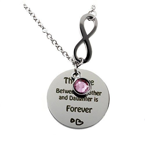R.h. Jewelry Stainless Steel Pink Acrylic Crystal Mother and Daughter Infinity Love Necklace