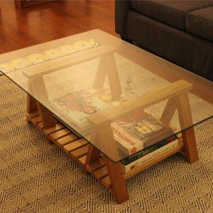MESA INES /  Mesa de centro, base de caballetes de madera de coihue y cubierta de vidrio de 8 mm de espesor.