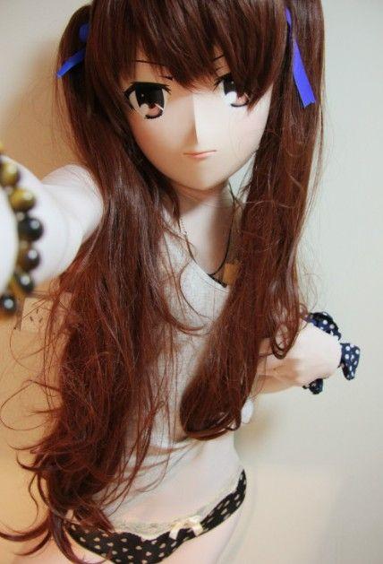 For Sale: kigurumi mask/hood with brown long wig_price:USD425