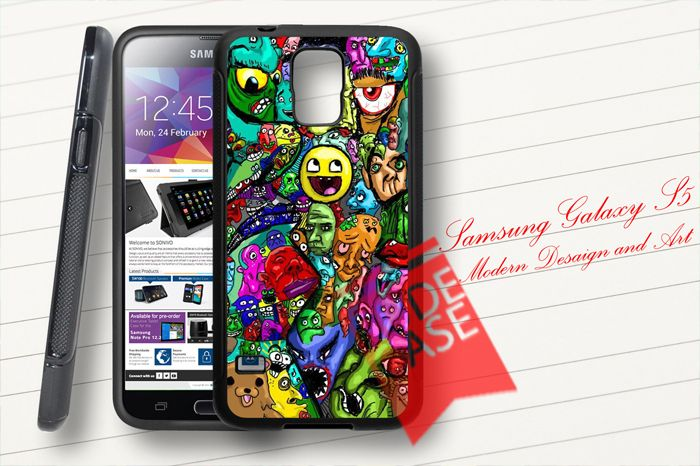 Samsung Galaxy S5 Custom Meme Face Collage Stickerbomb Rubber Case