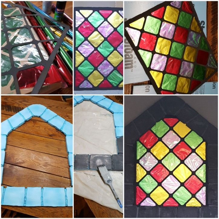 Air filter, cellophane,foil, insulation board, heat gun, and paint = Stained glass windows for Over the Moat VBS #THEYOTTERFAMILY #HILLTOPMISSIONCHURCHVBS2017