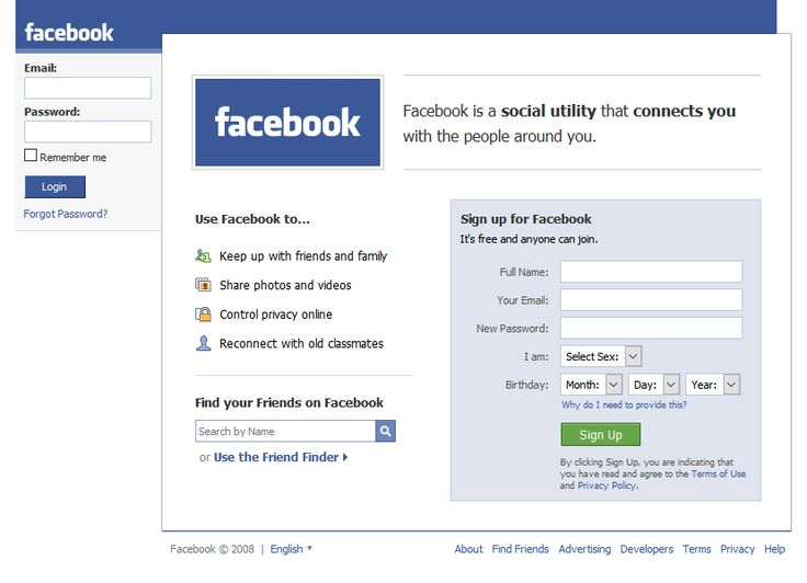 Facebook website 2008