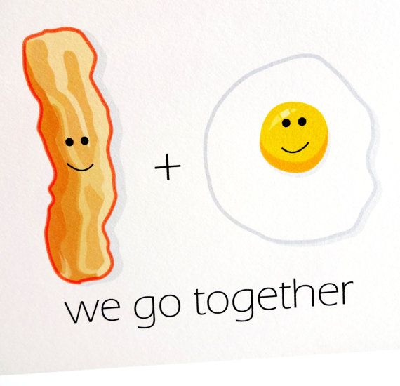 Bacon and Egg Card - we go together - Anniversary - Birthday - Wedding - Groom