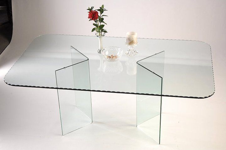 V shape all glass dining table base set 29 inch tall 450 for Tall glass dining table