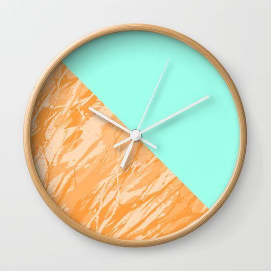 Orange Marble Wall Clock by textart