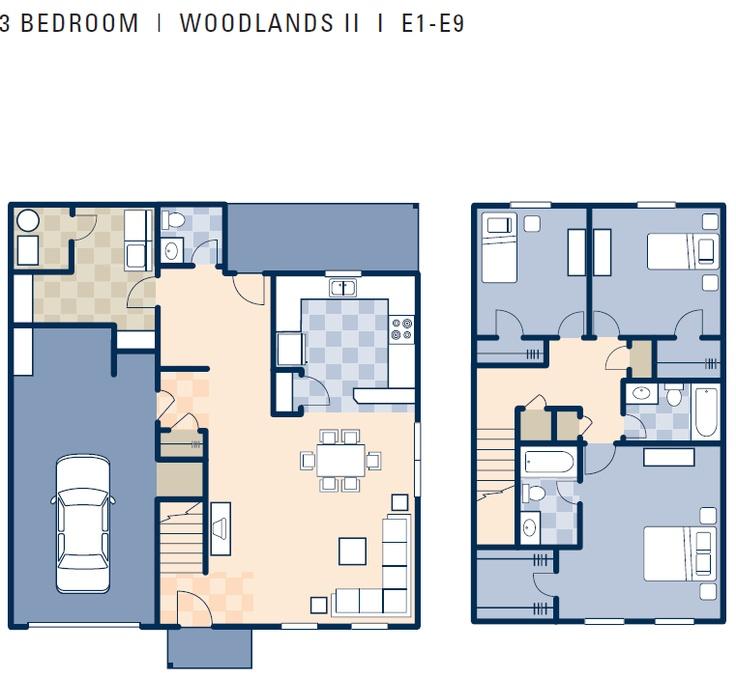 Nice House Plans Ms #6: NCBC Gulfport U2013 Woodlands II Neighborhood: 3 Bedroom Townhouse Floor Plan.