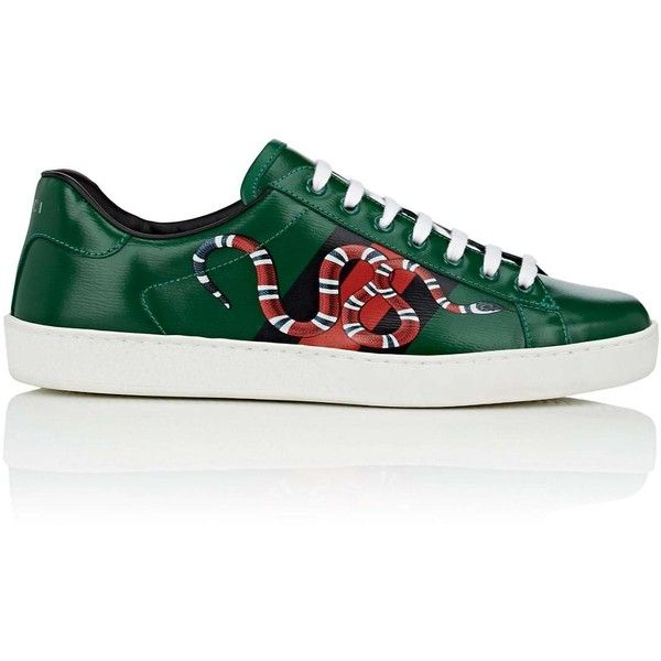 """Gucci Men's \""""New Ace\"""" Textured Leather Sneakers ($650) ❤ liked on Polyvore featuring men's fashion, men's shoes, men's sneakers, green, mens round toe shoes, mens multi colored shoes, men's low top sneakers, mens green shoes and mens sneakers"""