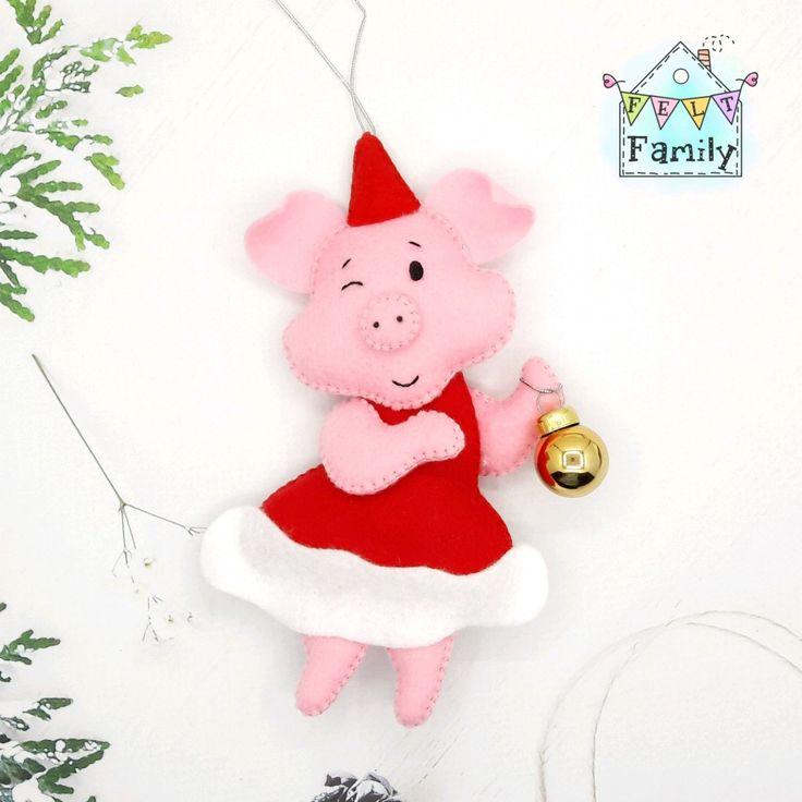 Новогодняя поделка открытка год свиньи, открытка