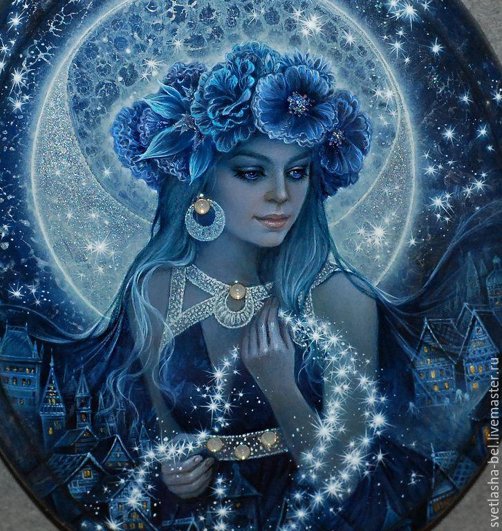 Купить Селена - Хозяйка Звёздного Неба... - тёмно-синий, лаковая миниатюра, Федоскино, живопись маслом