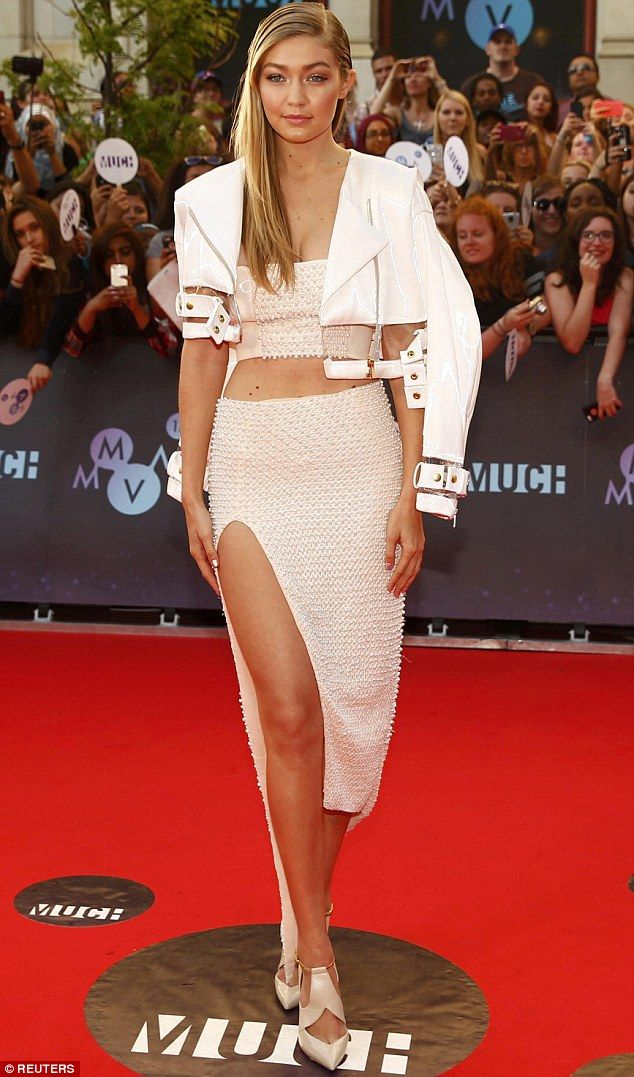 Wonder in white: Gigi Hadid stunned as she arrived at the Much Music Video Awards in Toronto, Canada on Sunday evening