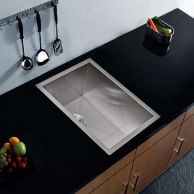Water Creation Undermount Zero Radius Stainless Steel 15x20x10 0 Hole Single Bowl Bar Sink With Strainer In Satin Finish