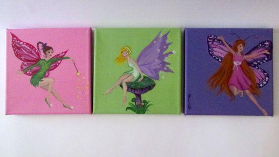 Little fairies-handmade canvas-acrylics-kids decor art-nursery art-children's art