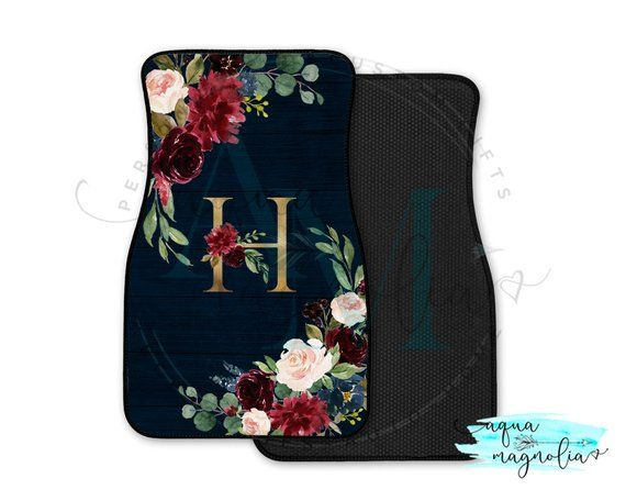 Monogrammed Car Mats, Burgundy, Navy and Gold Car Mats, Personalized Gold Floral Initial Car Floor Mats, Car Mat Set for Car or SUV