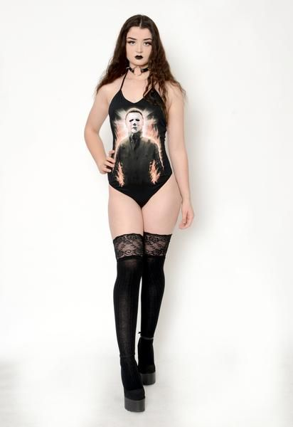 Custom Micheal Myers Halloween Bodysuit! Halter neck with scoop neckline. Altered from a large Rock Rebel men's t-shirt. Suit is fully lined and professionally finished with serged seams.