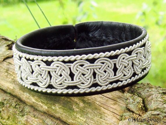 BEOWULF Sami Bracelet - Viking Lapland Bracelet in Black Reindeer Leather with Spun Pewter Braids - Custom Handmade from Tjekijas Design