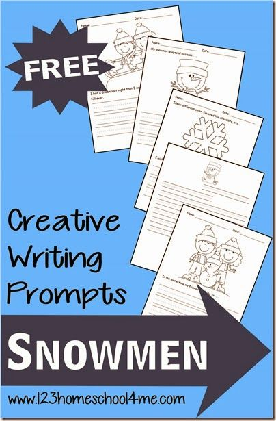Winter Creative Writing Prompts with a Snowmen theme. Perfect for Preschool and Homeschool Kindergarten, 1st grade, and 2nd grade students for some fun language arts in January.