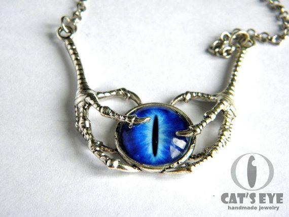 Clawed eye  necklace  Fantasy blue dragon eye by CatsEyeHandmade