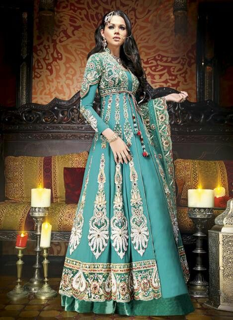 Anarkali in a beautiful tone of green. https://www.facebook.com/beautagonal?ref=tn_tnmn