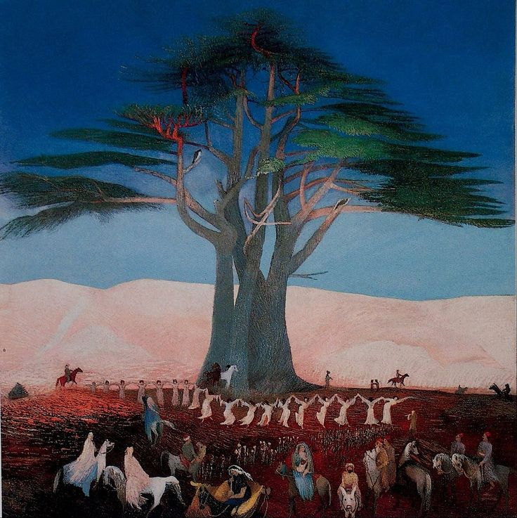 Art: The picture shown is a famous painting in Hungary called the Pilgrimage to the Cedars in Lebanon, painted by Tivadar Csontváry Kosztka. The picture is painted with oil paints and was made in 1924. Tivadar traveled many miles to find inspiration for something to paint. The picture of cedar trees painted in Lebanon. The painting represents religious character. According to ancient beliefs, cedars play an important role in ancient Hungarian mythology.