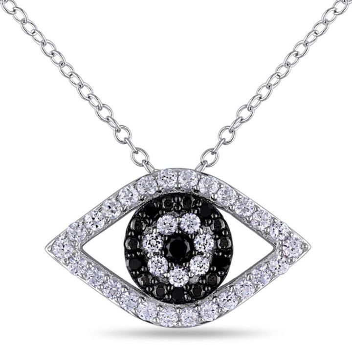 Zales Lab-Created White Sapphire and 1/10 CT. T.W. Enhanced Black Diamond Evil Eye Pendant in Sterling Silver