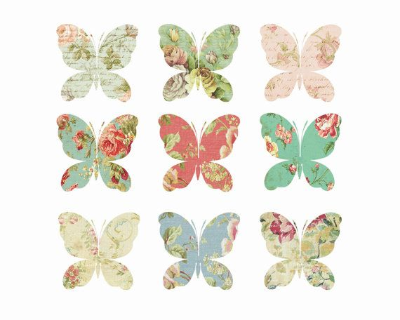 Clipart // Digital Butterfly Clipart // by VintagePaperPegasus, $3.00 #butterfly #vintage #floral #clipart