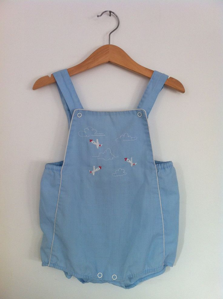 Vintage Boys Summer Romper Suit With Airplanes Baby Boy