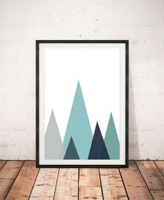 Mountains Print Geometric Wall Art Abstract Print Blue Wall