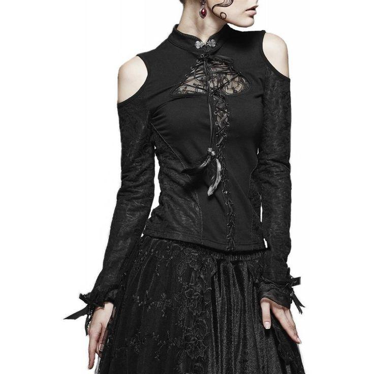 Shirt-Bluse schwarz lange Arm und Spitze am Ausschnitt...