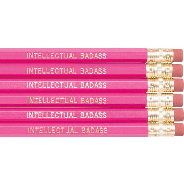 Intellectual Badass Pencil Set Funny Pencils Pink Pencils Back To... ($2).  Gold Office AccessoriesPink ...