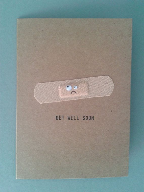 Handmade Get Well Soon Card Personalised. by GurdGifts on Etsy, £3.10