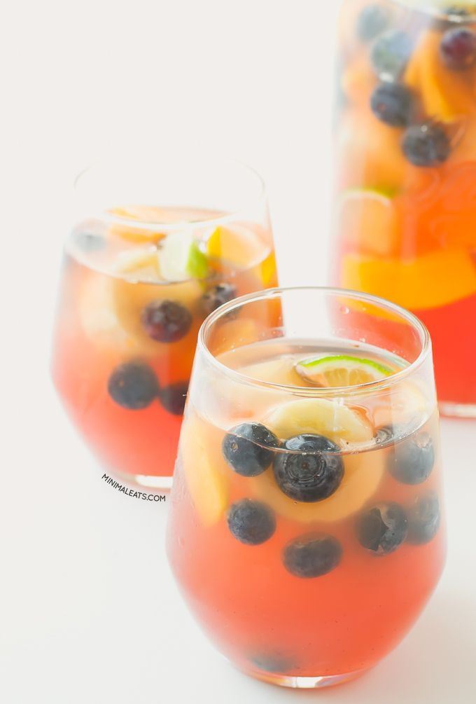 Sangria is a typical Spanish drink made with wine, fruits and some sweetener. This version is made with grape juice and fruits, it's alcohol-free.