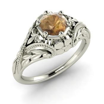 Brown Diamond  Vintage Ring in 14k White Gold