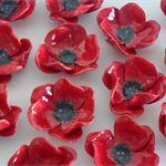 Ceramic Flower Poppy brooch Anzac Remembrance Day