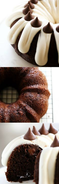 This HERSHEY'S KISSES Bundt Cake is an extremely moist cake loaded with KISSES Chocolates inside. It is finished off with a thick cream cheese frosting which compliments the flavor perfectly! #cakebaking
