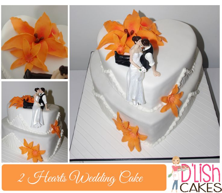two hearts - wedding cake. Orange lilies  By D'lish Cakes Broadford www.dlishcakesbroadford.com.au