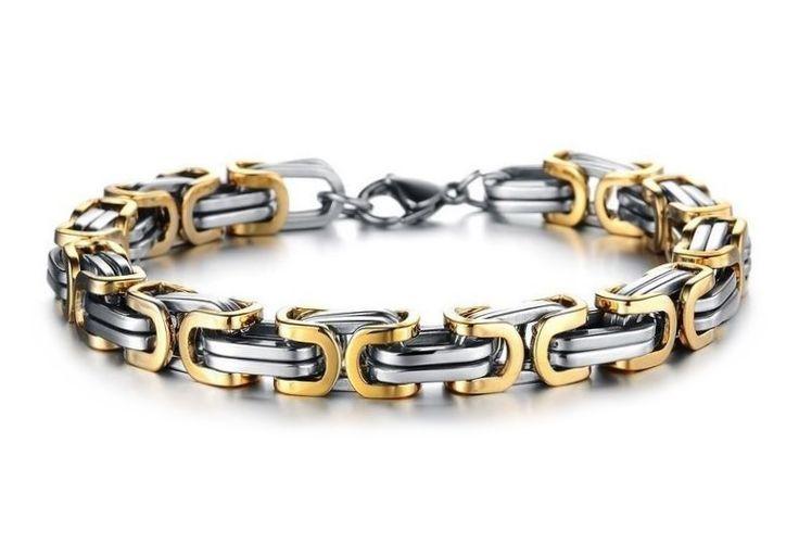 Maskulint herrearmbånd armlenke i sølv og gull farget rustfritt stål. God gaveide for gutt og mann.