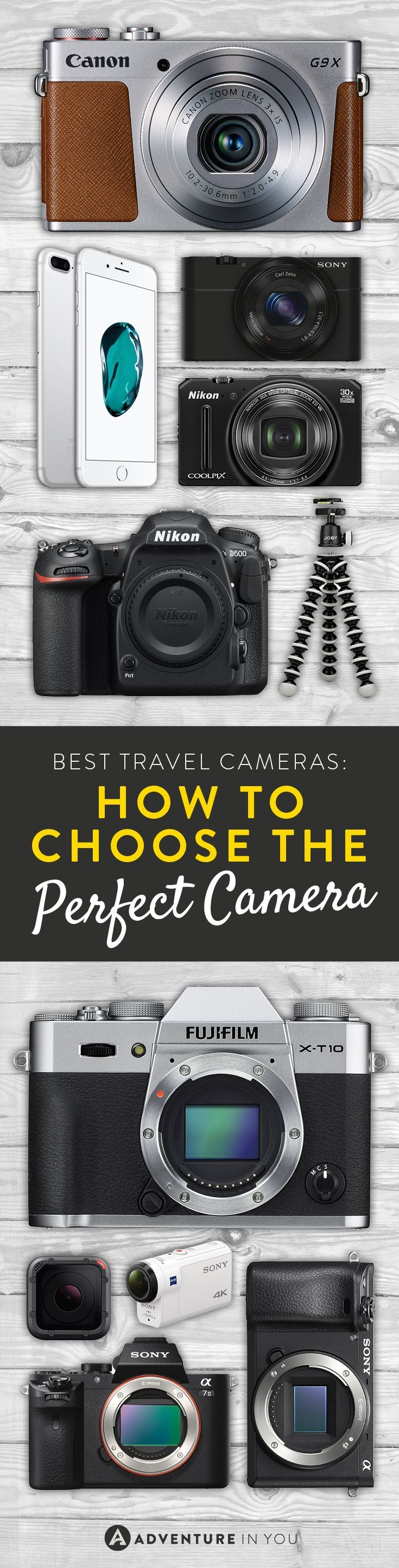 Best Travel Cameras   Recommendations on the best mirrorless, point and shoot, action, or DSLR camera to take traveling with you.