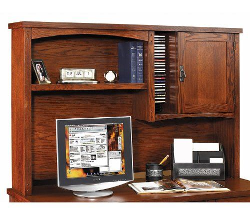 "kathy ireland Home by Martin Mission Pasadena Organizer Hutch. Color: Oak. Size: 55.5""W X 36""H X 11""D. This item ships common carrier. Desk sold separately. Popular mission style."