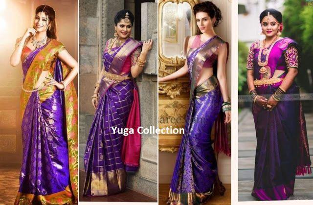 e9f1701fe40b6e Violet Kanjeevaram Bridal saree with contrast Blouse Combination ...