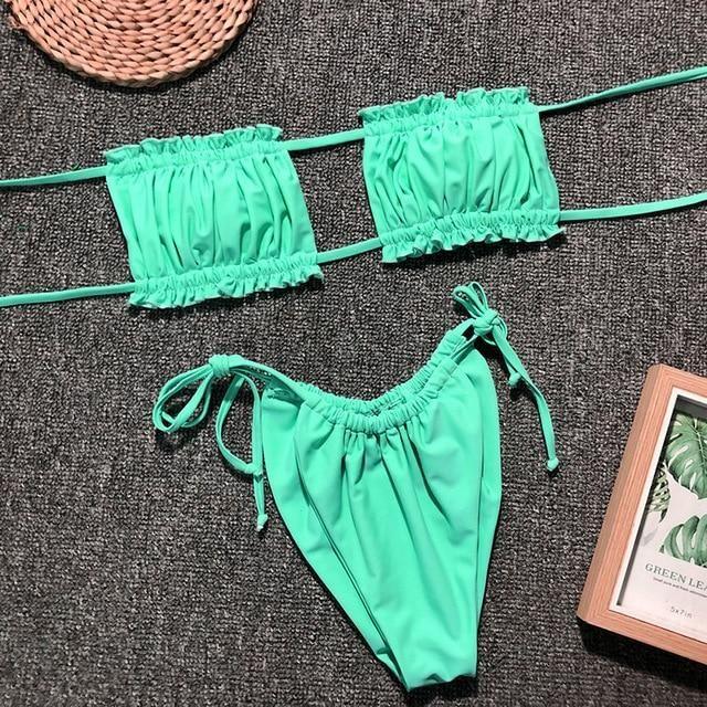 Summer Bikini Suit Women Ruched Lace Up Two Piece Set Top Beach Shorts Bathing Set Pink 2 Piece Set Women Beachwear Green M