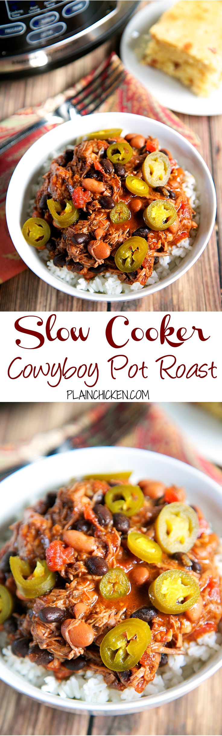 {Slow Cooker} Cowboy Pot Roast recipe - pot roast slow cooked with pinto beans, Rotel tomatoes, black beans and chili powder. SO good! Serve over rice and top with pickled jalapeños. Also makes a great freezer meal!