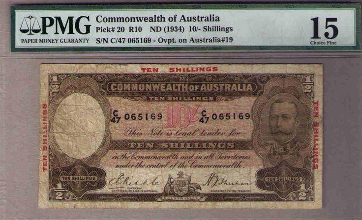 AUSTRALIA 1934 10/ KGV Commonwealth of. PMG Choice Fine 15. Renniks R10 Pick #20
