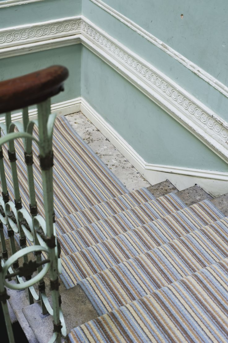 Blue and Beige Striped carpet by Alternative Flooring.