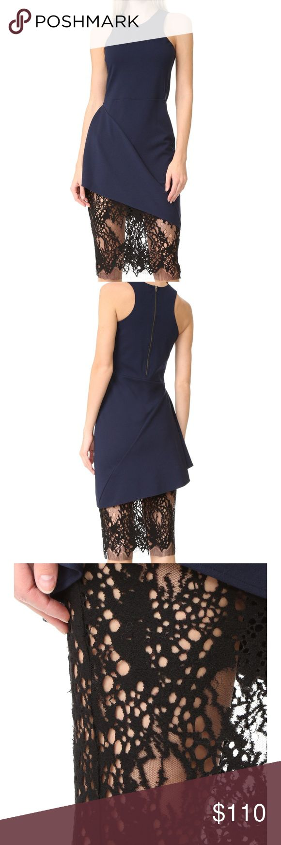 "Michelle Mason Navy/Black Racer Lace Hem Dress MICHELLE MASON RACER DRESS W/ LACE SKIRT   Small   DETAILS A dark two-tone Michelle Mason cocktail dress, crafted in navy ponte jersey and trimmed with sexy, sheer black lace along the hem. Draped detailing at one hip. High neckline and racer back. Sleeveless. Exposed back zip. Lined.  Fabric: Ponte jersey / lace. Shell: 62% rayon/30% nylon/8% spandex. Trim: 81% wool/19% nylon. Lining: 80% polyamide/20% elastane.  Bust: 30"" Waist: 27"" Hips: 32""…"