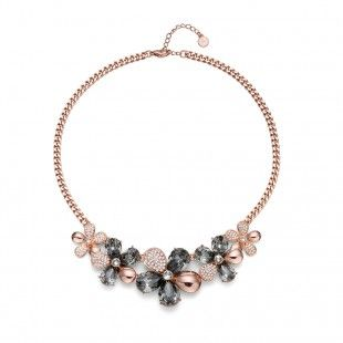 Oliver Weber Women luxury elegant style bloom rosegold collier necklace with Swarovski Crystals