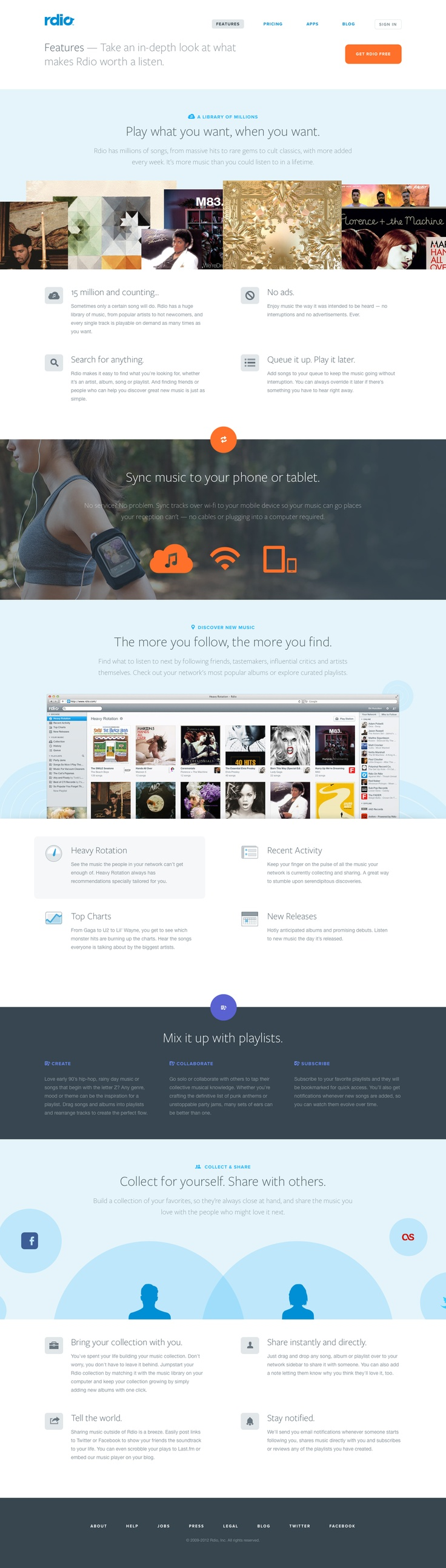 Rdio - Features - Nice display of a lot of information on one page.